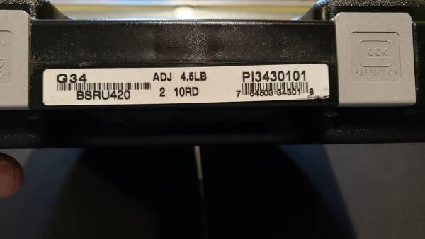 """Glock 34 Gen3 4.5"""" black 9mm PI3430101 (10rd)"""